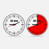 42 seconds clock on gray background. Fourty two Seconds Clock on gray background. Two options.42 seconds timer. Stopwatch icon. Clock icon.  Vector illustration Royalty Free Stock Photo