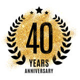 Fourty years gold anniversary. Fourty years gold anniversary symbol. 20th twenties. Golden glitter icon celebration for flyer, poster, banner, web header Royalty Free Stock Image