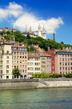 Fourviere basilica and Saone river by a sunny day, Lyon, France Stock Photo