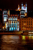 Fourviere Hill (Lyon, France). Lyon is turned into a live public art show with its annual festival of light at December 8th.. With its principal buildings in the Royalty Free Stock Photos