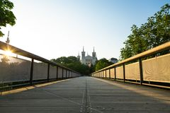 Fourviere during a spring sunrise Stock Photography