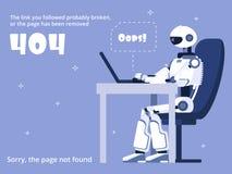 Fout 404 Om websitepagina met robot en waarschuwingsbericht niet te vinden Vector Malplaatje stock illustratie