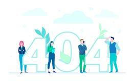 Fout 404 pagina - de vlakke kleurrijke illustratie van de ontwerpstijl stock illustratie