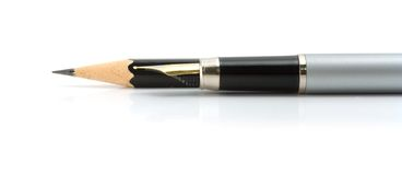 Foutain pen and black pencil. Ofiice suplies - foutain pen and black pencil on a white background stock image
