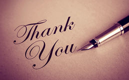 Foutain Pen and Thank You message Stock Photography