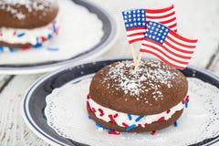 Fouth da torta do whoopie de julho Foto de Stock