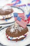 Fouth de tortas do whoopie de julho Imagens de Stock Royalty Free