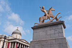 Fouth Plinth Trafalgar Square. Powerless Structures 101,a bronze of a child on a rocking horse by Elmgreen and Dragset is the latest sculpture on the Fourth Royalty Free Stock Photos