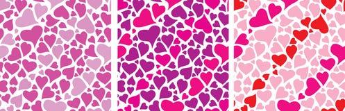 Vastgesteld het hartpatroon van de kleur voor de dag van de Valentijnskaart Stock Afbeeldingen