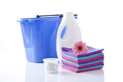 Free Fower, Towels And Laundry Detergent Isolated Royalty Free Stock Image - 38409036