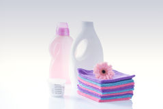 Fower, towels and laundry detergent isolated Royalty Free Stock Photos