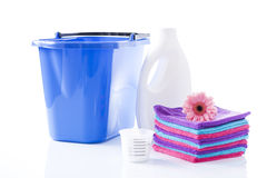 Fower, towels and laundry detergent isolated Stock Photos