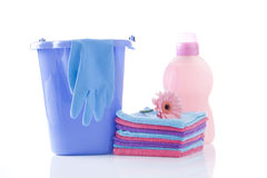Fower, towels and laundry detergent isolated Royalty Free Stock Image