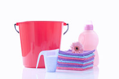 Fower, towels and laundry detergent isolated Royalty Free Stock Photography