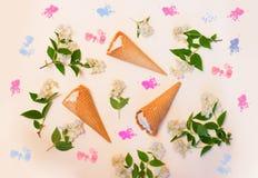 Fowers παγωτού και jasmine στο υπόβαθρο κρητιδογραφιών Στοκ Φωτογραφία