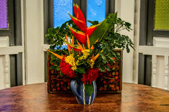 Fowers in Blue Vase Royalty Free Stock Photo