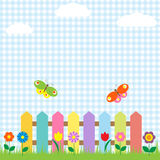 Fowers and butterflies. Colorful fence with flowers and butterflies Royalty Free Stock Photo
