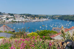 Fowey Cornwall from Polruan England near St Austell. On a beautiful summer day Stock Images