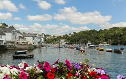 Picturesque Fowey harbour with moored boats stock photo