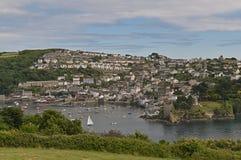 Fowey Rzeczny Cornwall Anglia UK od Polruan obraz royalty free