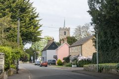 Fowlmere High Street and Church Tower. View of the church tower and High Street in the village of Fowlmere, Cambridgeshire, England, UK Stock Photography