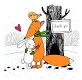 Fox、兔子、鸟和树 冬天 免版税图库摄影