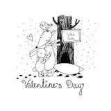 Fox、兔子、鸟和树 冬天 免版税库存图片