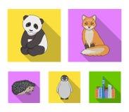 Fox、熊猫、猬、企鹅和其他动物 动物在平的样式传染媒介标志库存设置了汇集象 免版税库存图片
