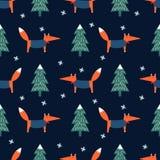 Fox、xmas树和雪花无缝的样式在蓝色背景 库存例证