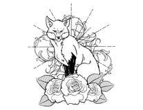 Fox与玫瑰葡萄酒新传统纹身花刺黑白剪影的纹身花刺剪影 向量例证