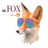 Fox人,先生 在太阳镜的Fox,都市城市样式,在白色背景的行家神色时尚动物画象特写镜头 库存例证