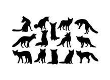 Fox动物剪影,艺术传染媒介设计 库存例证