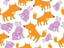 Fox和兔子无缝的样式 皇族释放例证