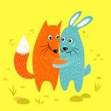 Fox和兔子朋友拥抱 向量例证