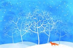 Fox在冬天森林里 免版税库存照片