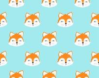 Fox无缝的样式 也corel凹道例证向量 免版税库存照片