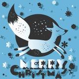 Fox祝愿一个愉快的圣诞节 库存图片