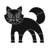 Fox, único ícone no estilo preto Fox, Web da ilustração do estoque do símbolo do vetor Foto de Stock Royalty Free