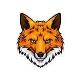 Fox возглавляет значок талисмана вектора намордника или рыльца Стоковые Изображения