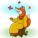 Fox и бабочки Стоковое Фото