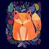 Fox и цветки иллюстрация штока