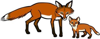 Fox матери и младенца бесплатная иллюстрация