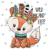 Fox милого шаржа племенной с пер иллюстрация вектора