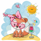 Fox на пляже иллюстрация штока
