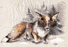 Fox на снеге Стоковая Фотография