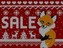 Fox продажи зимы: Картина скандинавского стиля безшовная связанная с оленями и деревьями Стоковое Изображение