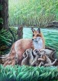 Fox с щенятами в лесе рядом с рекой акриловое произведение искысства красит бумагу красивейшее изображение иллюстрация вектора