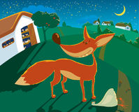 Fox. The fox has stolen the hen from a henhouse under a cover of night Stock Image