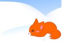 Fox. Cartoon illustration of a cute baby fox presenting Royalty Free Stock Image