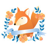 Fox. Vector illustration with fox, flowers and ribbon Vector Illustration